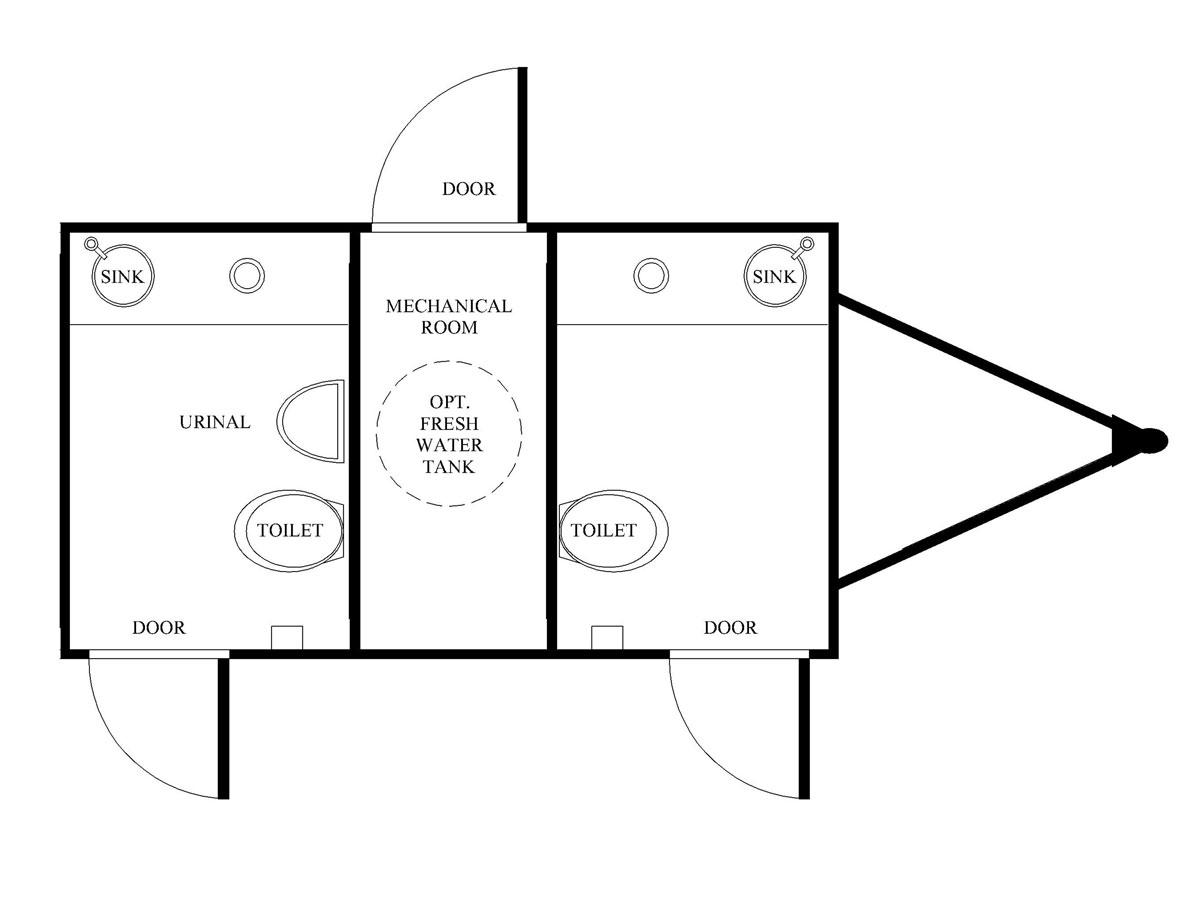 2 unit restroom trailer diagram