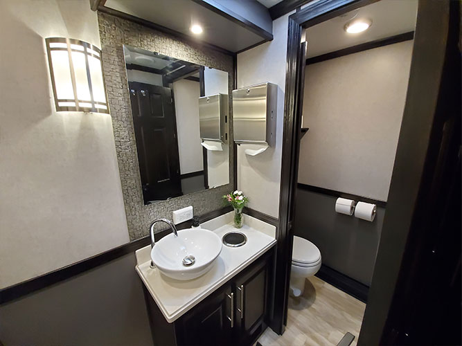 4 unit portable restroom trailer vanity and private stall